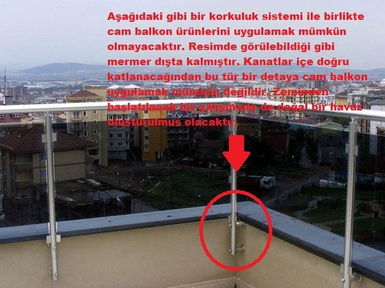 cam balkon uygulanamayan balkon detayı